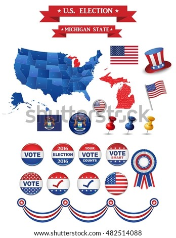 Us Presidential Election 2016 Michigan State Including High Detailed Michigan Map Perfect For