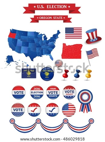 Us Presidential Election 2016 Oregon State Including High Detailed Map Of Oregon Perfect For