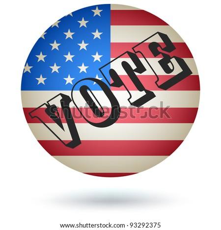 US Presidential Vote Button, Icon. Vector - stock vector