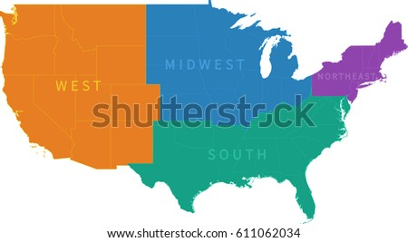 Colorful Regional Map United States Stock Vector - Regional map of the us