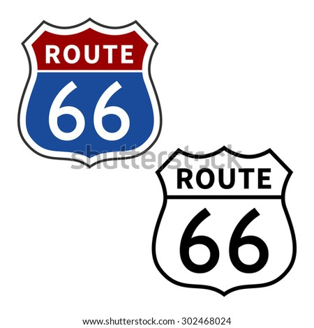 US Route 66 Highway vector sign - stock vector