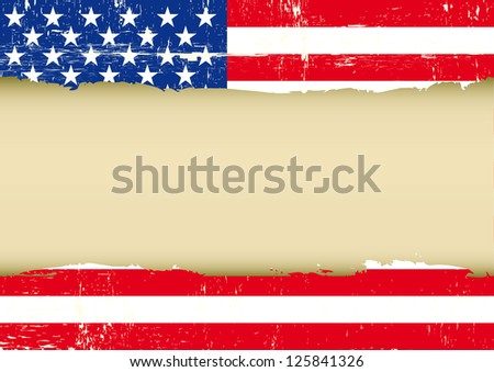 US scratched flag. An american grunge flag with a frame for your message.