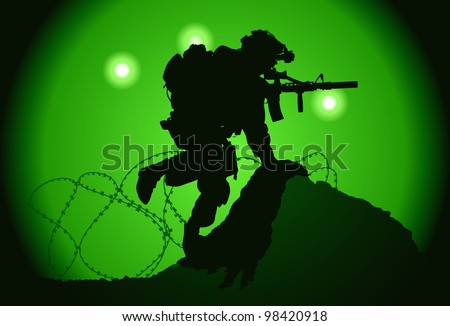 US soldier used night vision goggles - stock vector