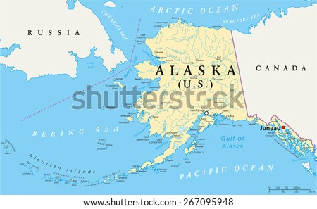 Us State Alaska Political Map With Capital Juneau National Borders Important Cities Rivers