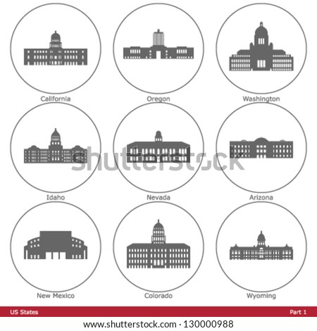 US States - symbolized by the State Capitols (Part 1) - stock vector