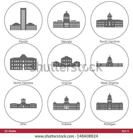 US States - symbolized by the State Capitols (Part 4) - stock vector