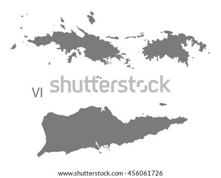 Us Virgin Islands Map Grey Stock Vector Shutterstock - Map of us and us virgin islands