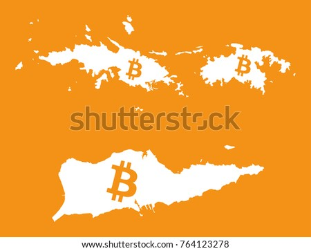 us virgin islands map with bitcoin crypto currency symbol ilration