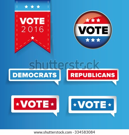 US Vote label vector set - stock vector