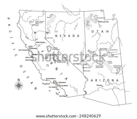 Us West Coast Map Stock Vector 248240629 Shutterstock