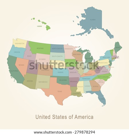 Colorful Usa Map States Capital Cities Stock Vector - Us map of states with cities