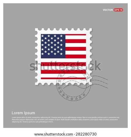 USA America Flag Postage Stamp on white background. Vector illustration. - stock vector