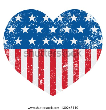 USA America retro heart flag - vector - stock vector