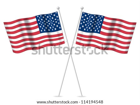 USA American flags on staff poles.