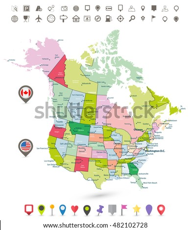Map United States America Famous Attractions Stock Vector - Us and canada map vector