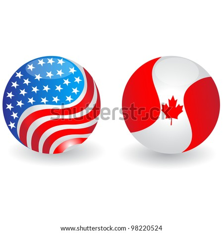 USA and Canada flags globe.Vector - stock vector
