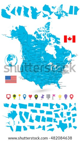 United States Canada Map Stock Images RoyaltyFree Images - United states and canada map