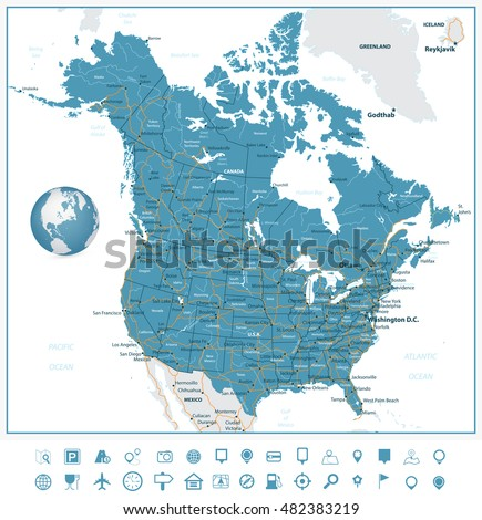 usa and canada road map and navigation icons with states provinces and capital cities in