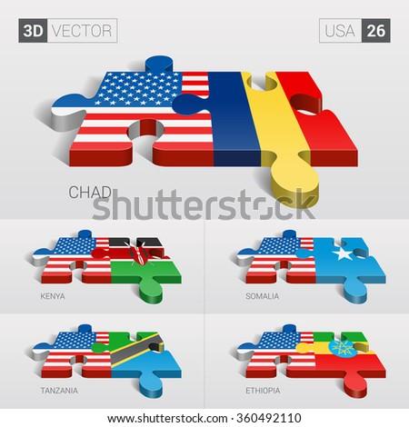 USA and Chad, Kenya, Somalia, Tanzania, Ethiopia Flag. 3d vector puzzle. Set 26. - stock vector