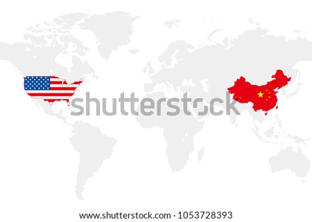 Usa china business world map chart vectores en stock 1053728393 usa and china business world map chart vector illustration gumiabroncs Choice Image