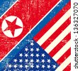USA and North Korean grunge Flag. this flag represents the relationship  between North  Korea and the USA - stock photo