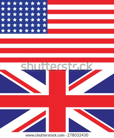 usa and uk flags - stock vector