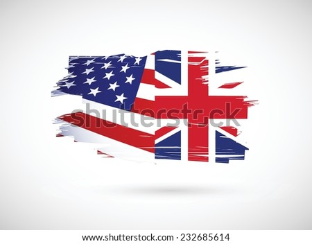 usa and united kingdom illustration design over a white background - stock vector