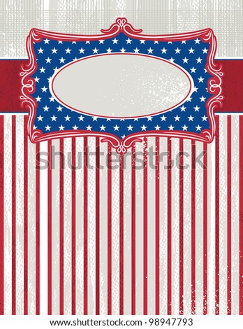 usa background with one decorative label, vector illustration