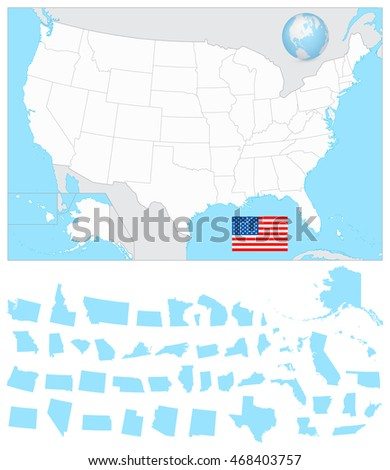 USA blank map with it's separated states including Alaska and Hawaii.
