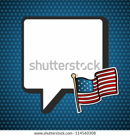 USA blank national speech bubble with flag in sketch style over blue stars background. Vector file layered for easy manipulation and custom coloring. - stock vector