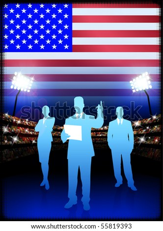 USA Business Team on Stadium Background with Flag Original Illustration