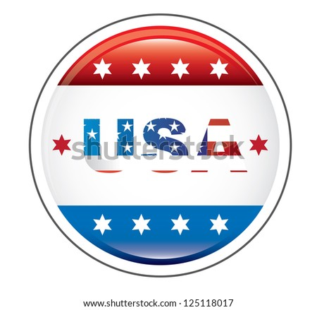 usa button with united states flag over white background