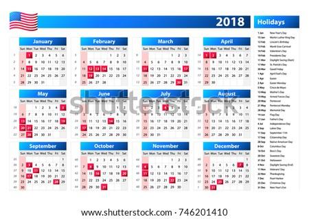 2018 calendar with holidays usa