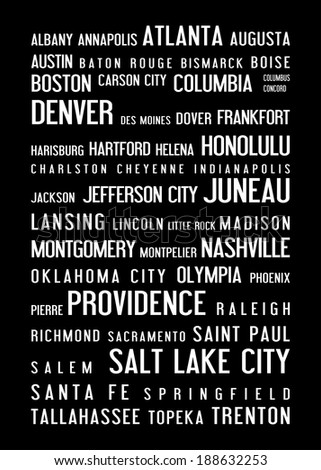 USA capital cities - typographic poster