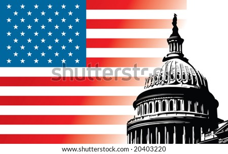 Usa Capitol dome with flag - stock vector