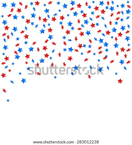 USA celebration confetti stars in national colors for independence day isolated on white background - stock vector