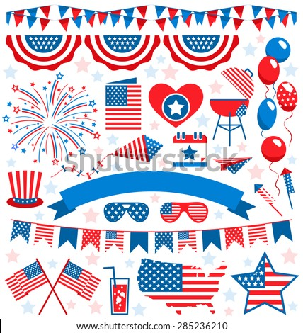 USA celebration flat national symbols set for independence day isolated on white background  - stock vector