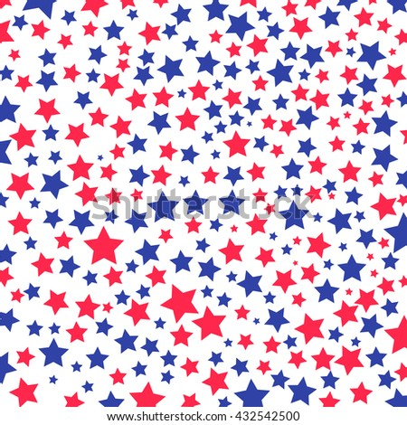 USA celebration pattern with stars in national colors for independence day isolated on white background - stock vector