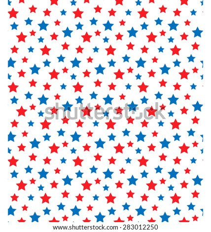 USA celebration seamless with stars in national colors for independence day isolated on white background - stock vector