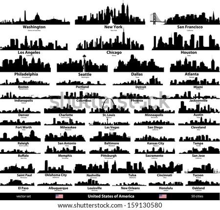 USA cities skylines set - stock vector