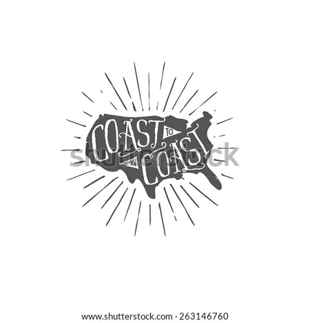 USA coast to coast outdoors themed typographic label  - stock vector