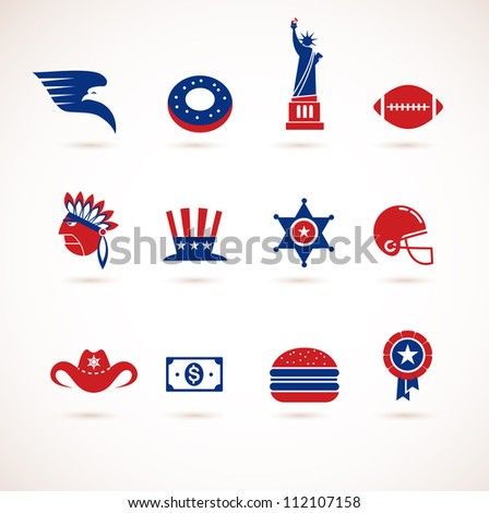 USA - collection of vector icons - stock vector