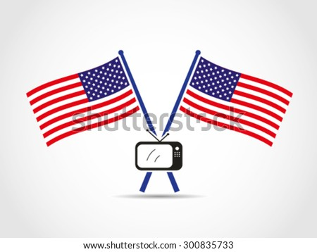 USA Crossed Flags Emblem TV