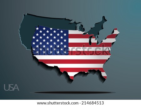 USA 3D paper map and flag