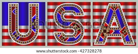 USA Decorative Block Typography On Flag Tiles - stock vector