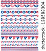USA decorative borders, ornamental rules, dividers, vector - stock vector