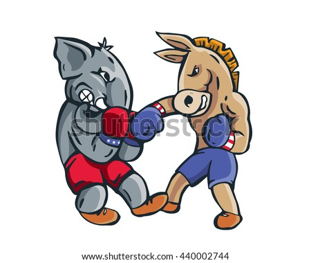 USA Democrat Vs Republican Election 2016 Cartoon -  Boxing Match Final - stock vector