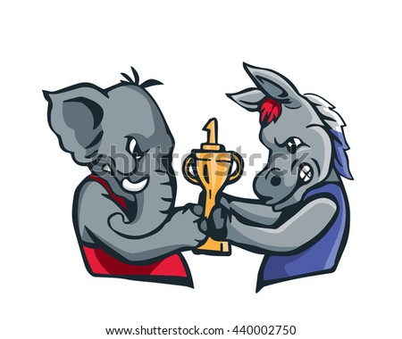 USA Democrat Vs Republican Election 2016 Cartoon -  Fight For The No.1 Trophy - stock vector