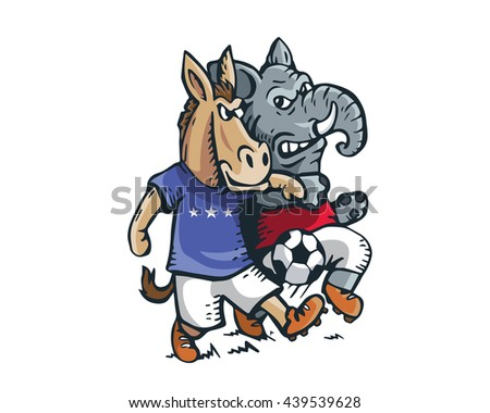 USA Democrat Vs Republican Election 2016 Cartoon -  Political Soccer Competition - stock vector