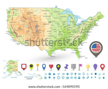 Map United States America Famous Attractions Stock Vector - Map of the united states of america with cities
